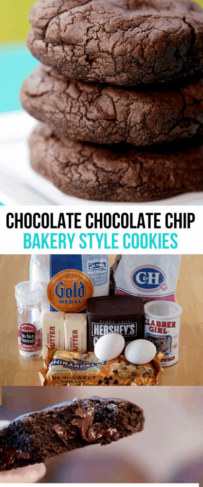 Chocolate Chocolate Chip Bakery Style Cookies