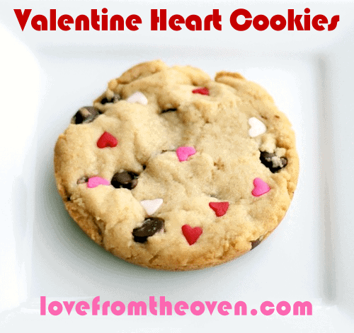 Valentine's Day Chocolate Chip Heart Cookies by Love From The Oven
