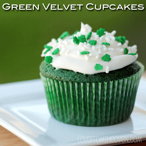 Green Velvet Cupcakes for St. Pattys Day