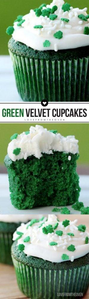 Easy Green Velvet Cupcakes or Green Velvet Cake Recipe #greenvelvetcake #greenvelvetcupcakes #stpatricksdaycake #greenvelvetrecipe