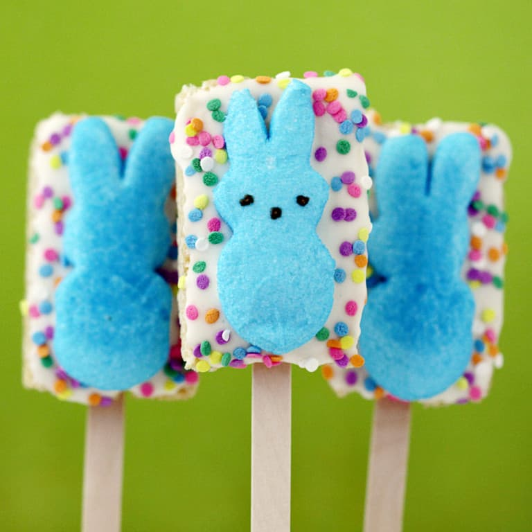 rice krispy treat peeps pops