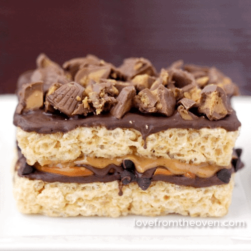 Peanut Butter And Pretzel Stuffed Rice Krispies Treats