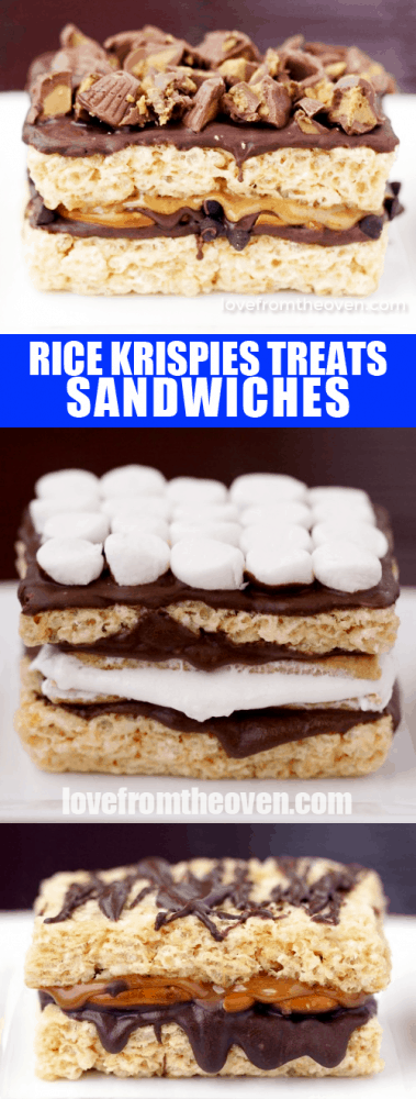 Rice Krispies Treat Sandwiches. So easy and so many flavor combos!