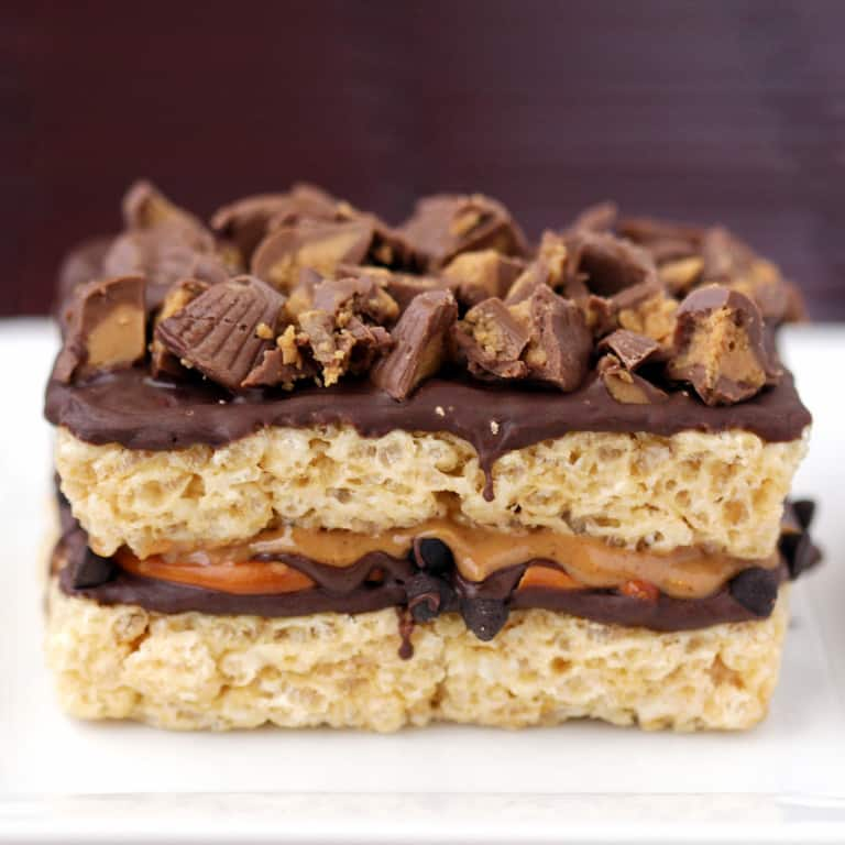 chocolate pretzel peanut butter cup krispy treats