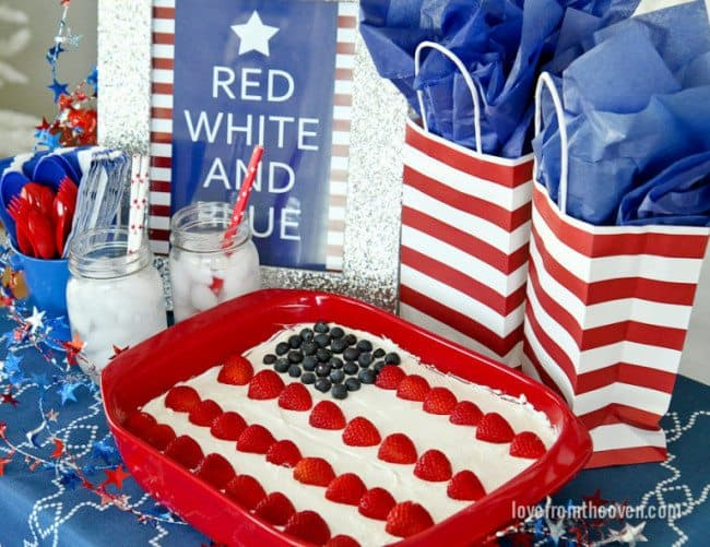 Red White And Blue Flag Cake