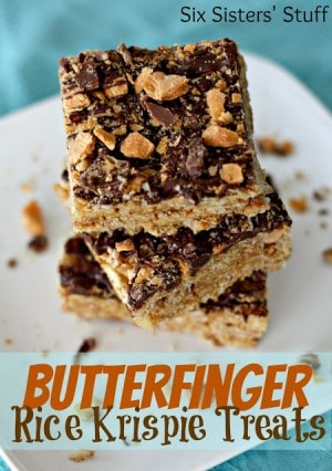 Butterfinger Rice Krispies Treats