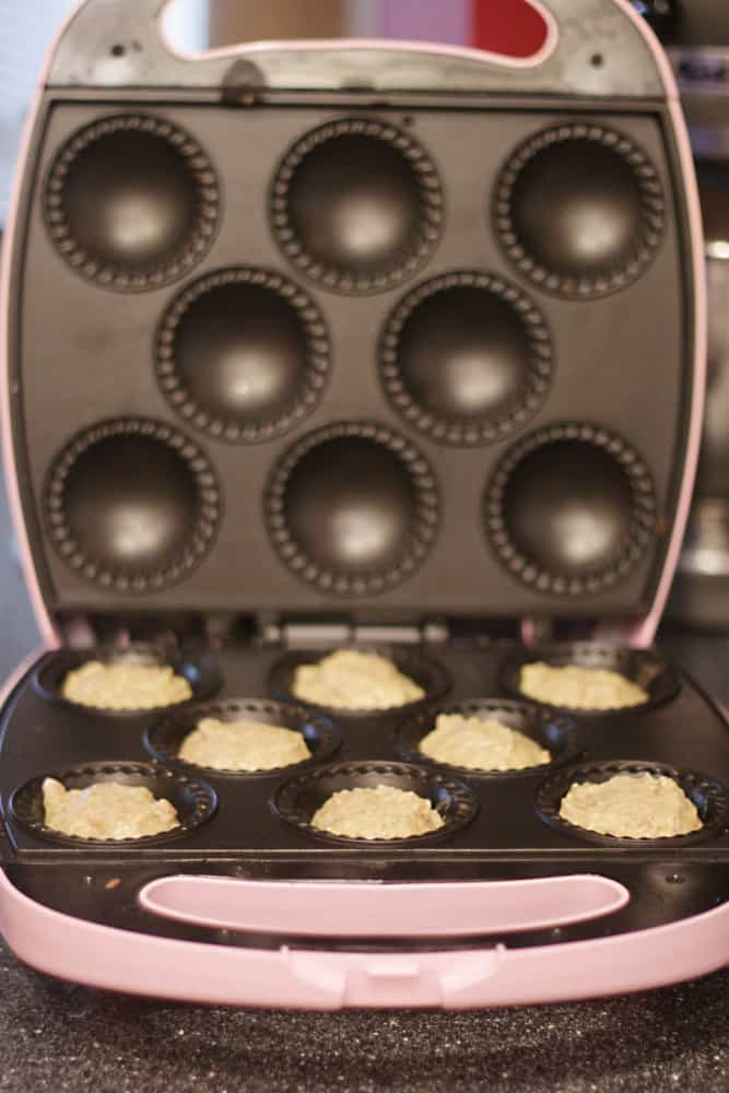 making muffins in babycakes cupcake maker