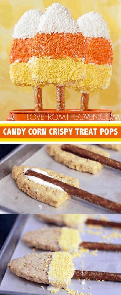 Candy Corn Crispy Treat Pretzel Pops