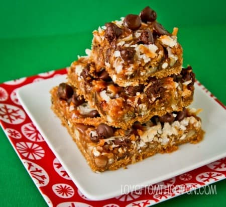 Chocolate Caramel Pretzel Magic Cookie Bars