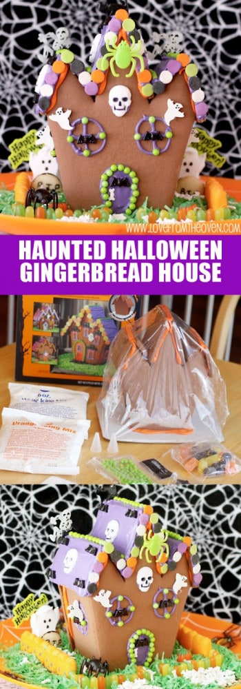 Haunted Halloween Gingerbread House. What a fun project to do with the kids, I think this might be more fun than the Christmas gingerbread houses!