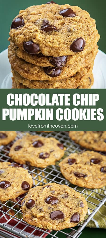 chocolate chip pumpkin cookies stacked and on a wire rack