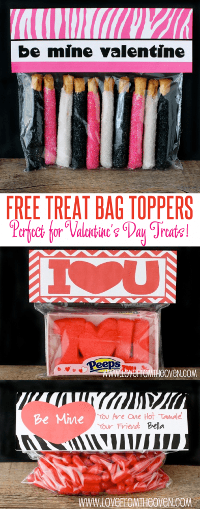 Free Treat Bag Toppers For Valentine's Day