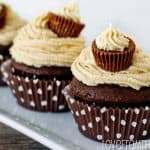 Peanut Butter Ball Stuffed Chocolate Cupcakes <BR>With Peanut Butter Buttercream