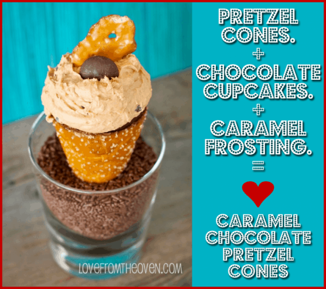 Caramel Chocolate Pretzel Cupake Cones by Love From The Oven