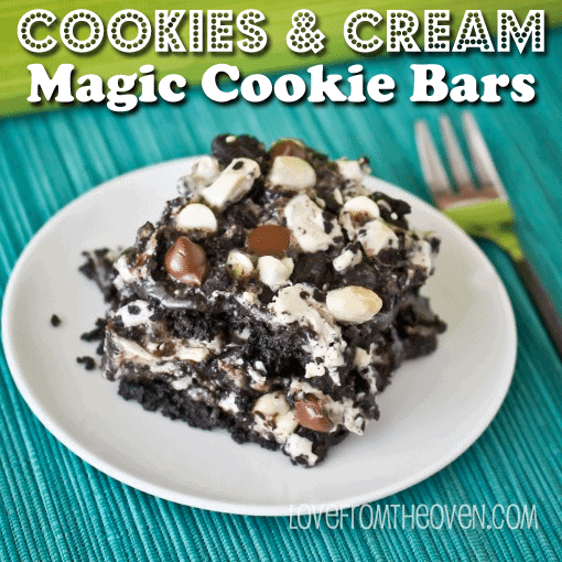 Cookies & Cream Magic Cookie Bars By Love From The Oven