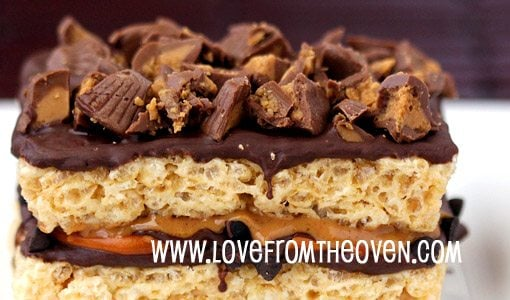 Featured chocolate chip peanut butter pretzel crispy treats