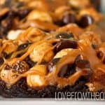 Salty Sweet Week – Chocolate Caramel Pretzel Brownies