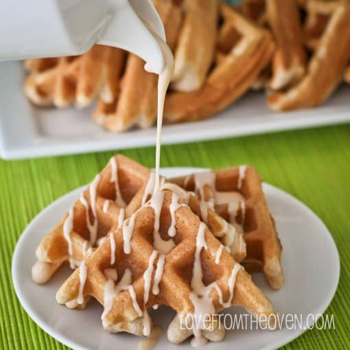 Cake Mix Cinnamon Waffles With Cinnamon Roll Glaze Love