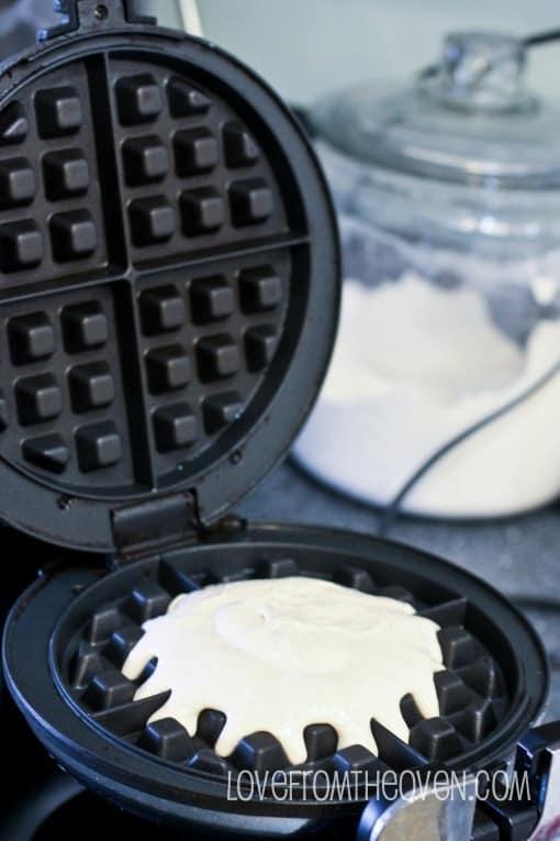 Cake Mix Cinnamon Waffles With Cinnamon Roll Glaze Love