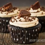 Peanut Butter Cup Stuffed Brownie Cupcakes With Peanut Butter Buttercream Frosting