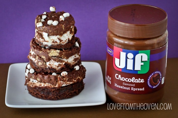 JIF Chocolate Hazelnut Spread S'mores Crunch Brownies by Love From The Oven-2-11