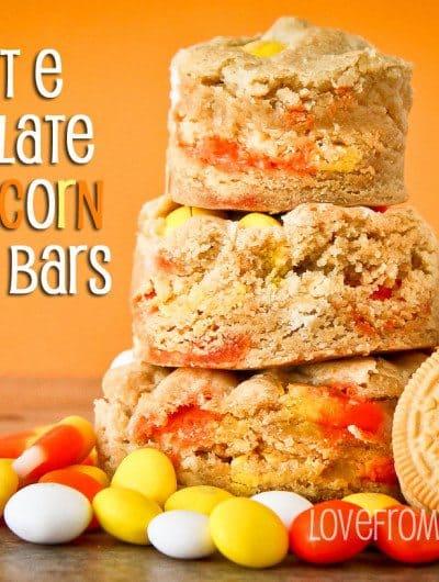 White Chocolate Candy Corn Cookie Bars