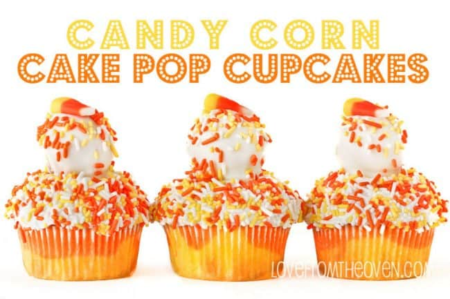 Candy Corn Cake Pop Cupcakes at Love From The Oven