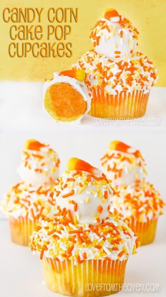 Candy Corn Cake Pop Cupcakes