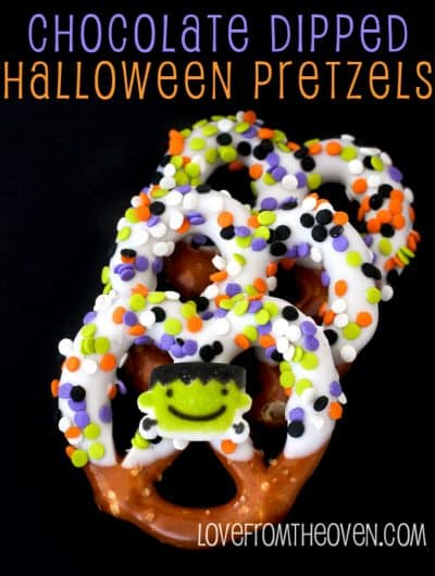 Chocolate Covered Halloween Pretzels