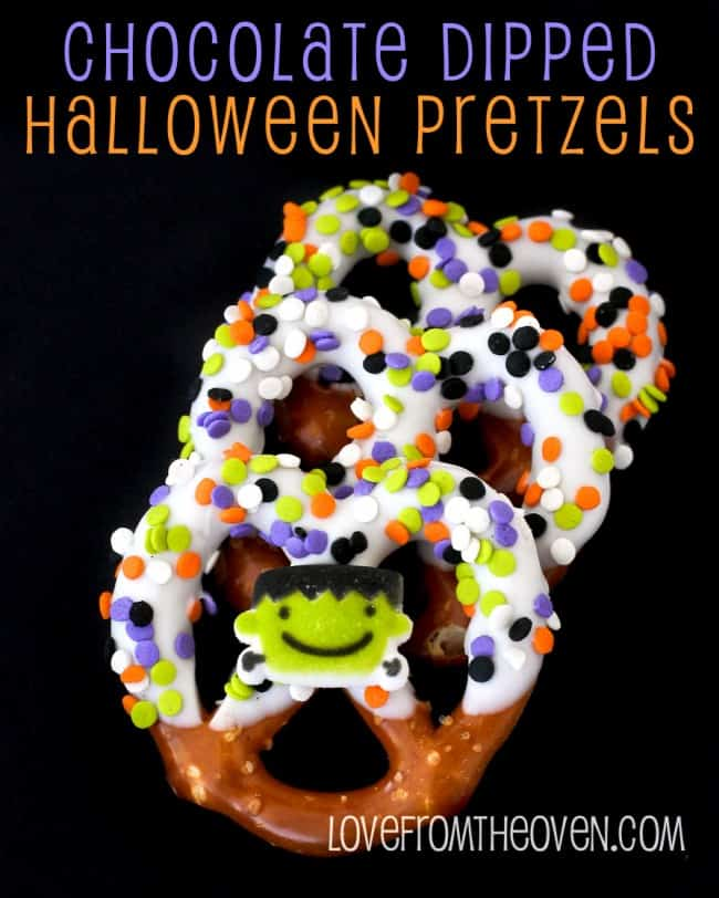 Chocolate Dipped Halloween Pretzels by Love From The Oven
