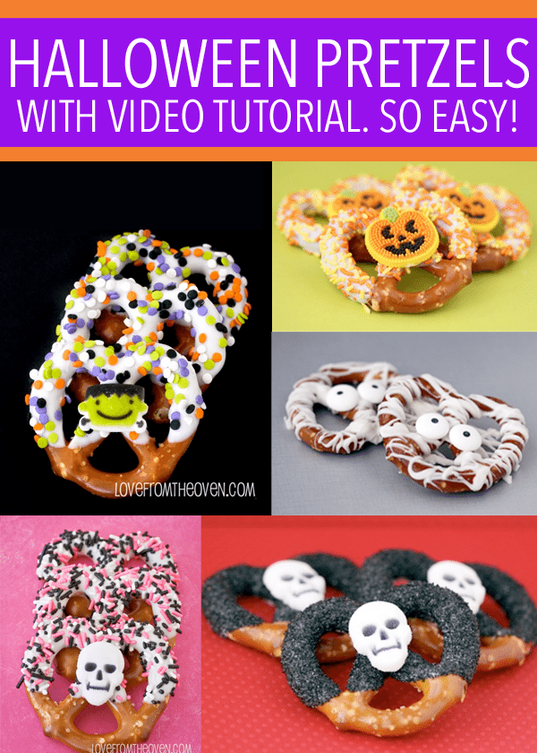Easy and delicious Halloween Pretzels.  So easy, and you can even watch a video that walks you through it.