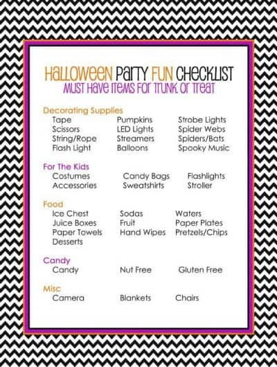 My Halloween Party Checklist<BR>Trunk Or Treat Style With HP Ink