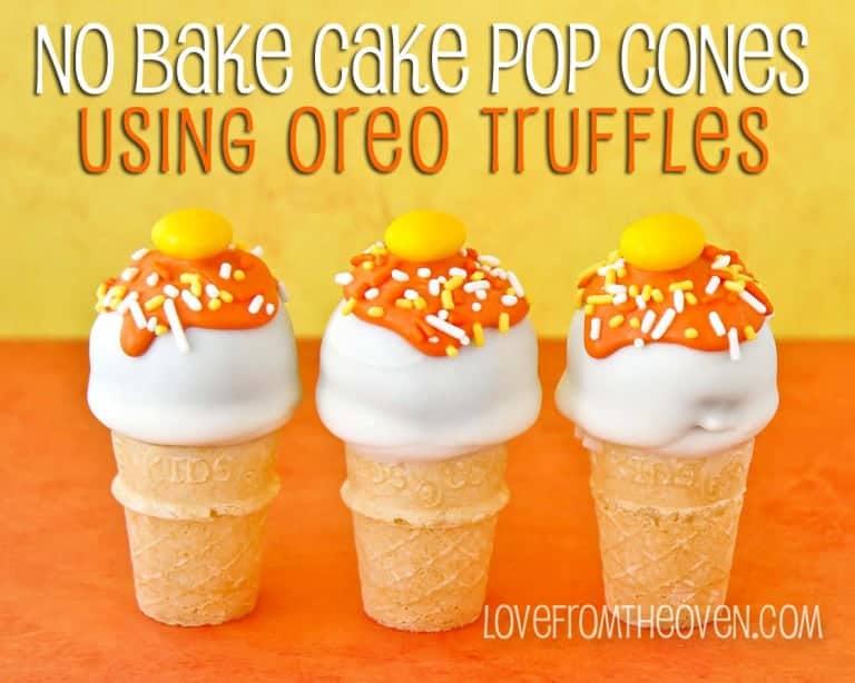 Oreo Truffle Cake Pop Cones