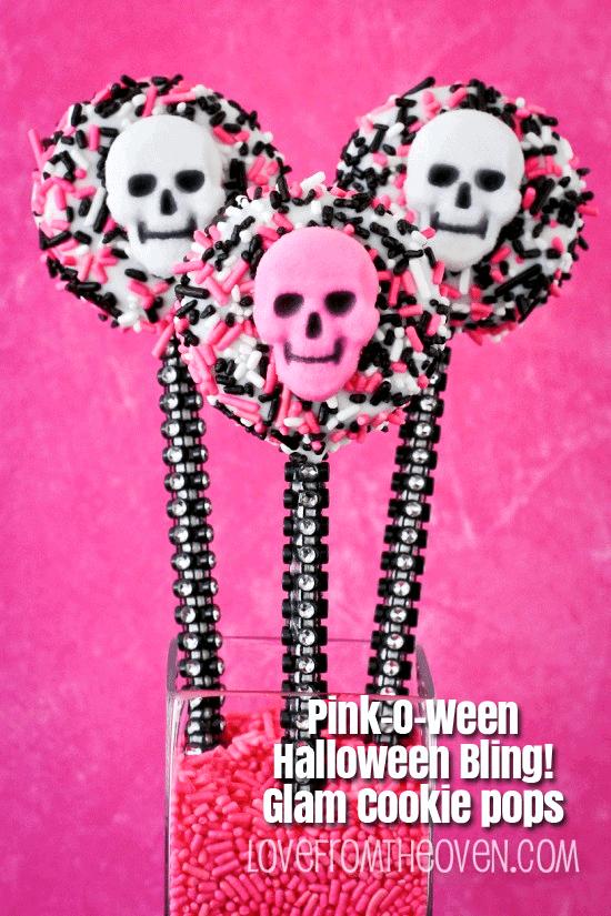 Pink O Ween Halloween Bling Cookie Pops