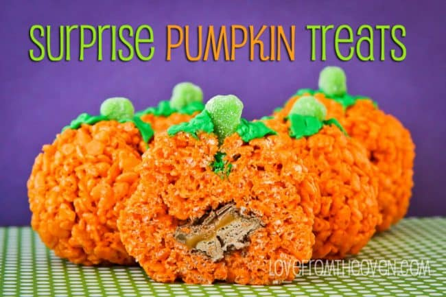 Surprise Pumpkin Treats Rice Krispies Treats by Love From The Oven