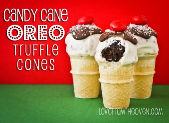 Candy Cane Oreo Truffles On Mini Cones Love From The Oven