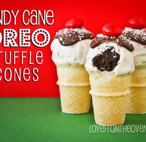 Candy Cane Oreo Truffles On Mini Cones