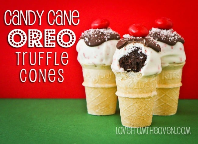 Candy Cane Oreo Truffle Pop Cones by Love From The Oven