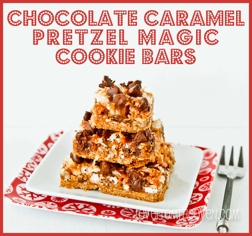 Chocolate Caramel Pretzel Magic Cookie Bars at lovefromtheoven.com