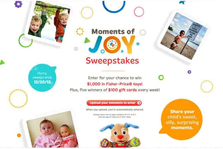 Enter To Win The Fisher Price Moments Of Joy Sweepstakes