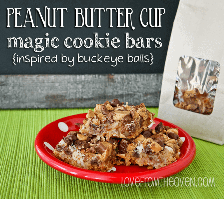 Buckeye Ball Magic Cookie Bars by Love From The Oven