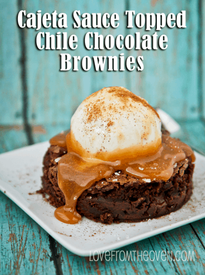 Cajeta Sauce Topped Chile Brownies from McCormick Spice