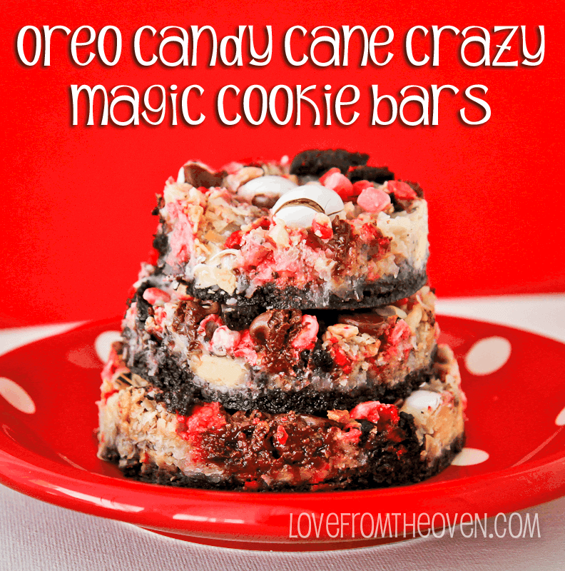 Candy Cane Crazy Oreo Magic Cookie Bars by Love From The Oven