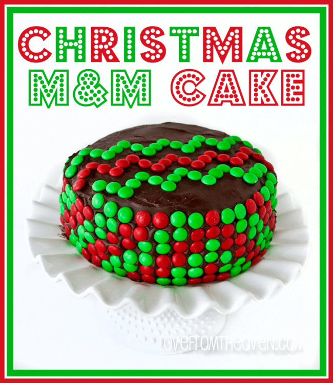 Christmas M&M Chevron Cake by Love From The Oven