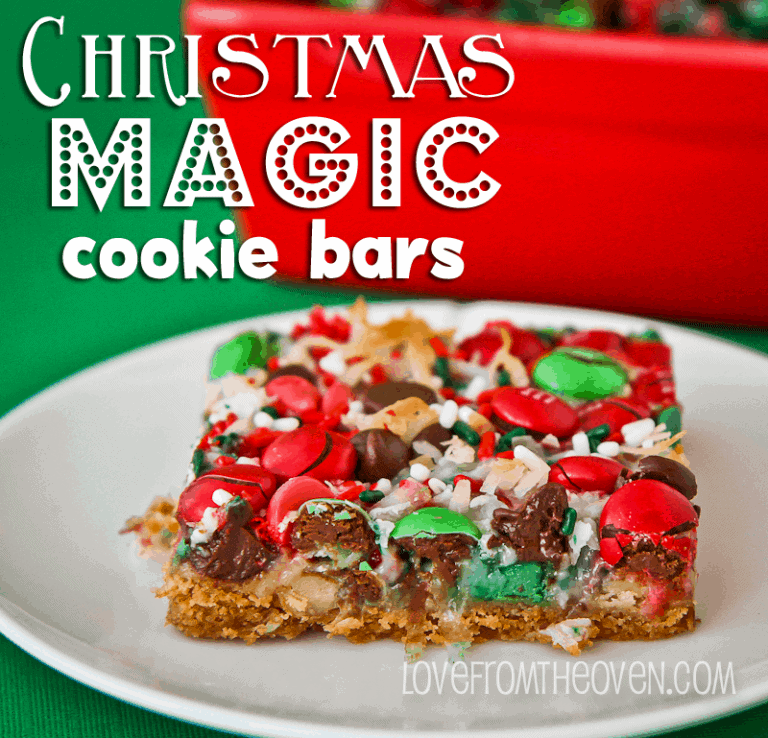 Christmas Magic Cookie Bars from Love From The Oven