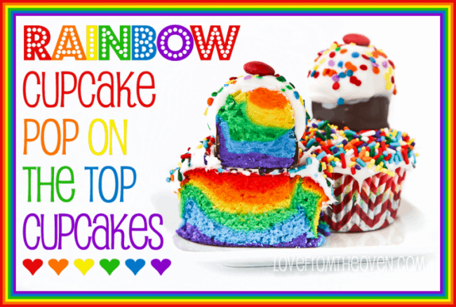 Rainbow Cupcake Pop Topped Cupcakes by Love From The Oven