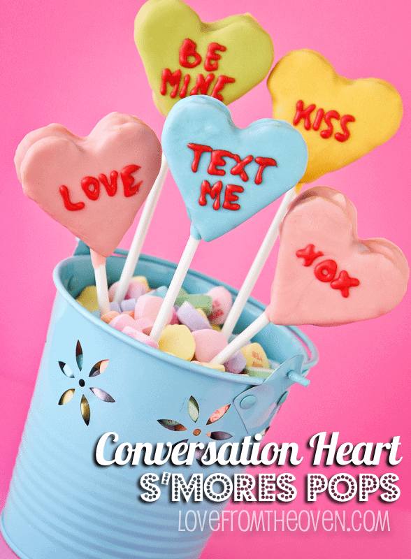 Conversation Heart Marshmallow S'mores Pops by Love From The Oven