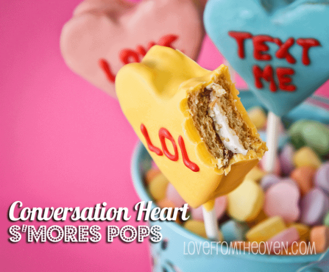 Conversation Heart S'mores Pops at Love From The Oven
