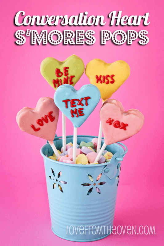 Conversation Heart S'mores Pops by Love From The Oven