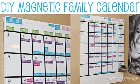 DIY Magnetic Family Calendar at Love From The Oven With Free Printables
